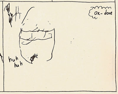 An abstracted head, breathing heavy at the end of a jog.