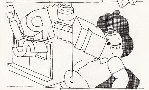 Sluggo-looking protagonist, here rendered sparingly, is woken up by the siren.