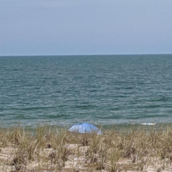 Blue umbrella at the beach